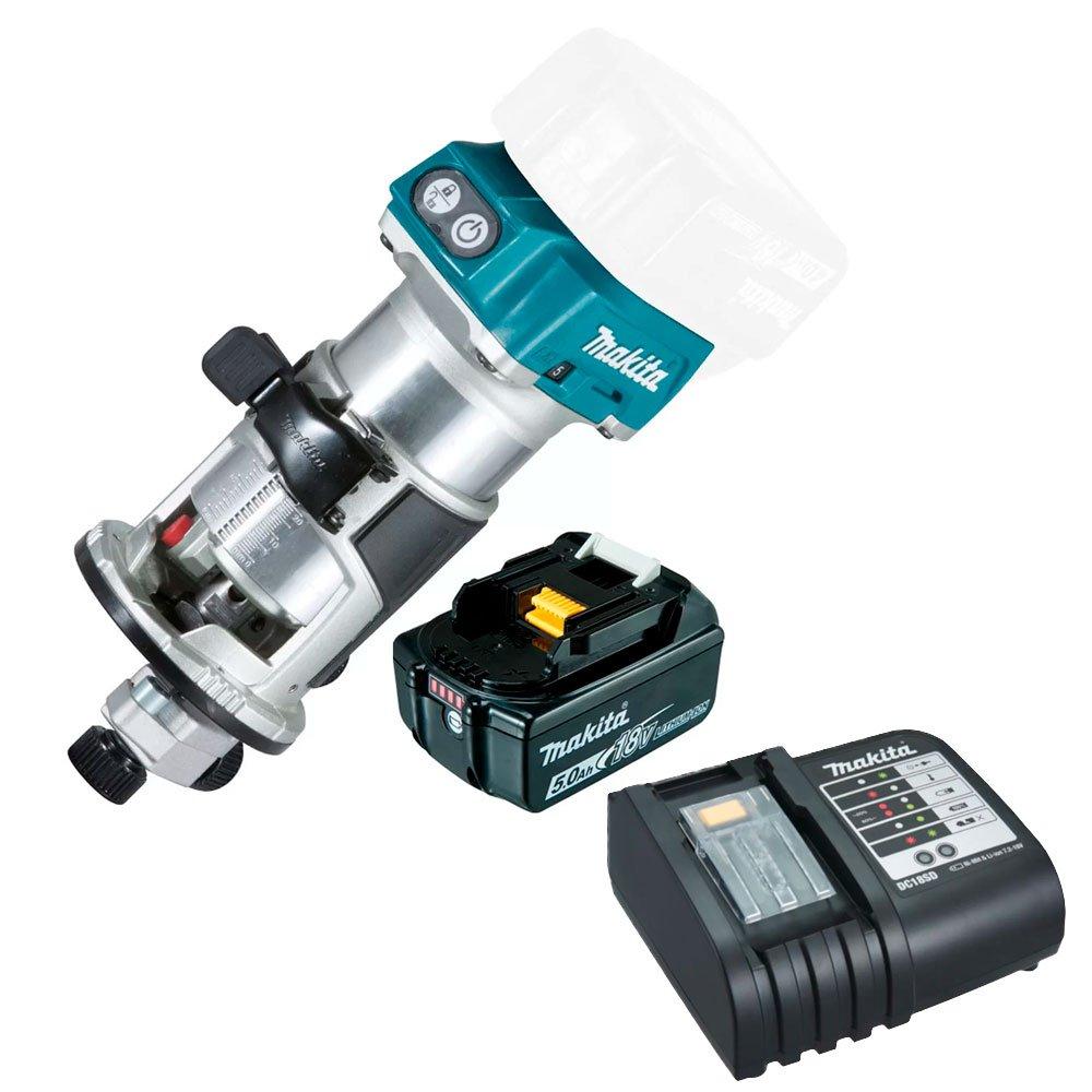 Kit Tupia Profissional 6 e 8mm com Bateria 18V 5A -MAKITA-DRT50ZP + Carregador de Bateria 18V e 14.4V de Íons Lítio Bivolt - MAKITA-DC18SD - Imagem zoom