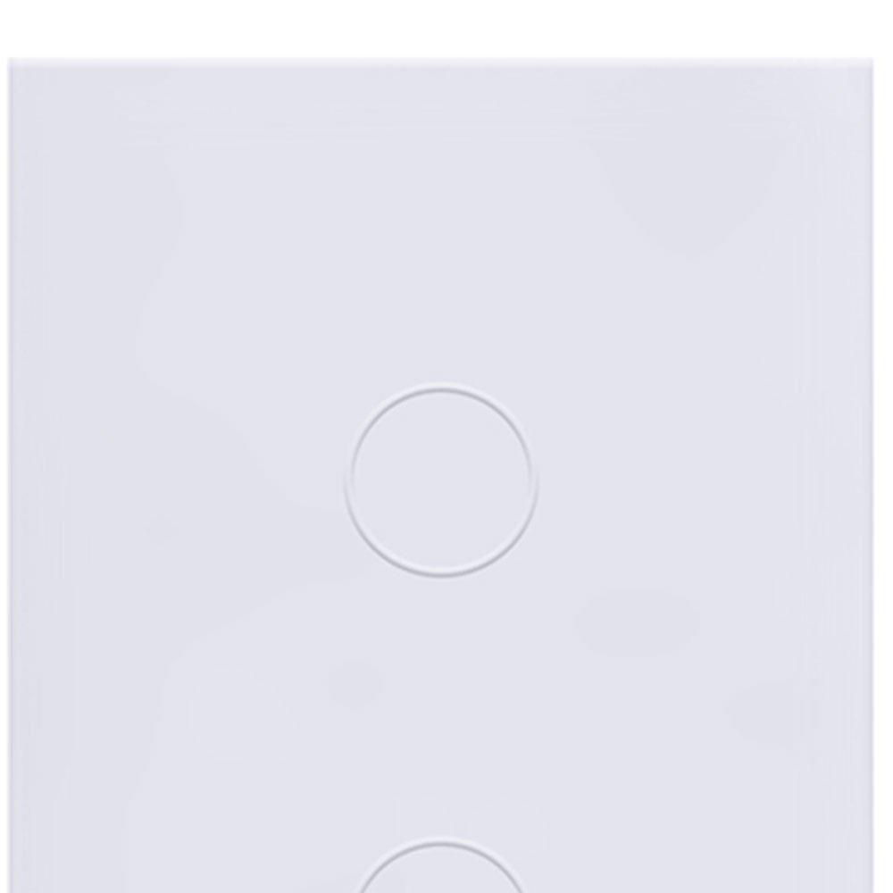 Interruptor Touch Glass em Acrílico Branco com 2 Botões - Imagem zoom