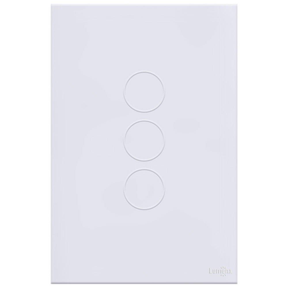 Interruptor Touch Glass em Acrílico Branco com 3 Botões - Imagem zoom