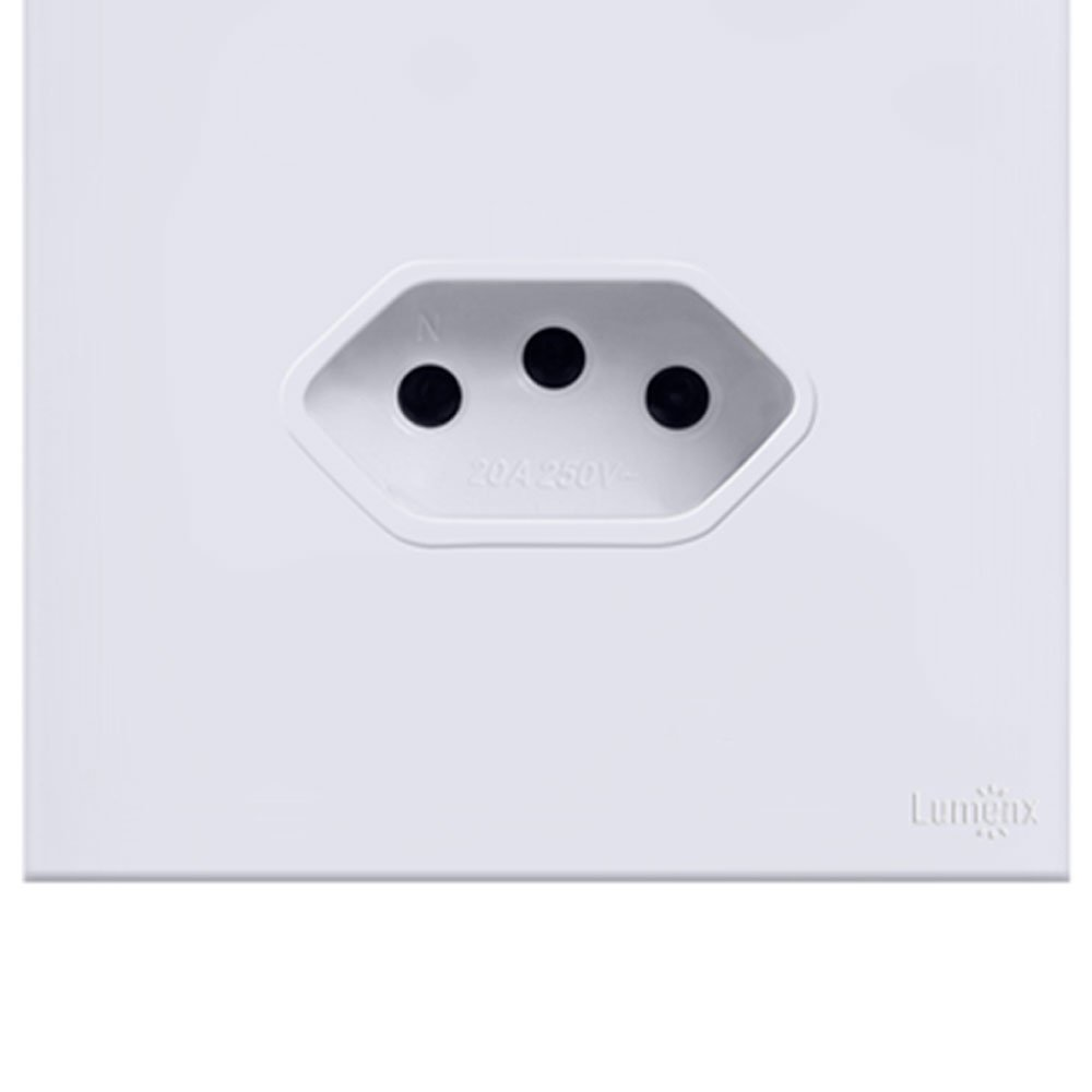 Interruptor Touch Glass em Acrílico Branco com 1 Botão  e 1 Tomada - Imagem zoom