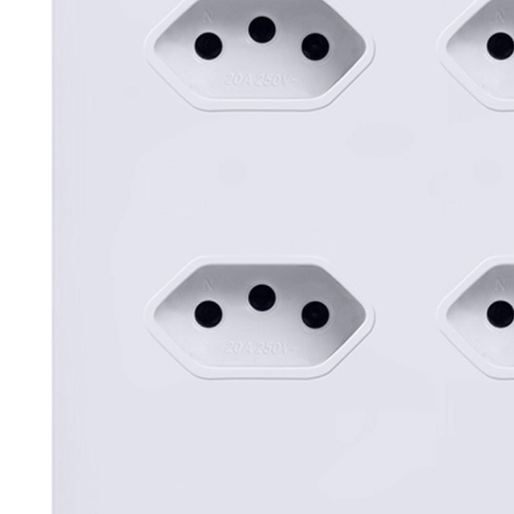Tomada Quadrupla em Acrílico Branco 10A / 20A - Imagem zoom