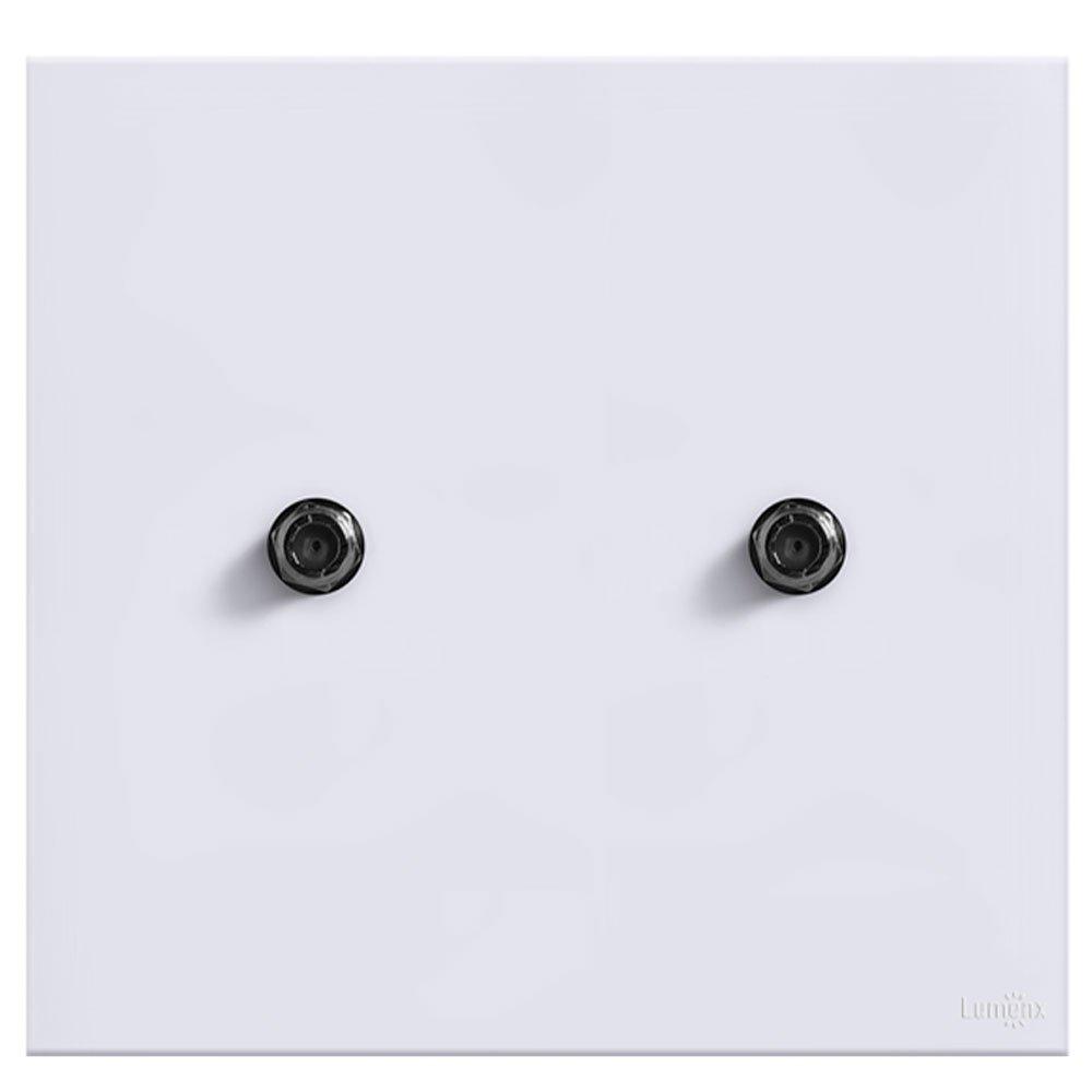 Placa com 2 Conector Coaxial Glass em Acrilico Branco  - Imagem zoom