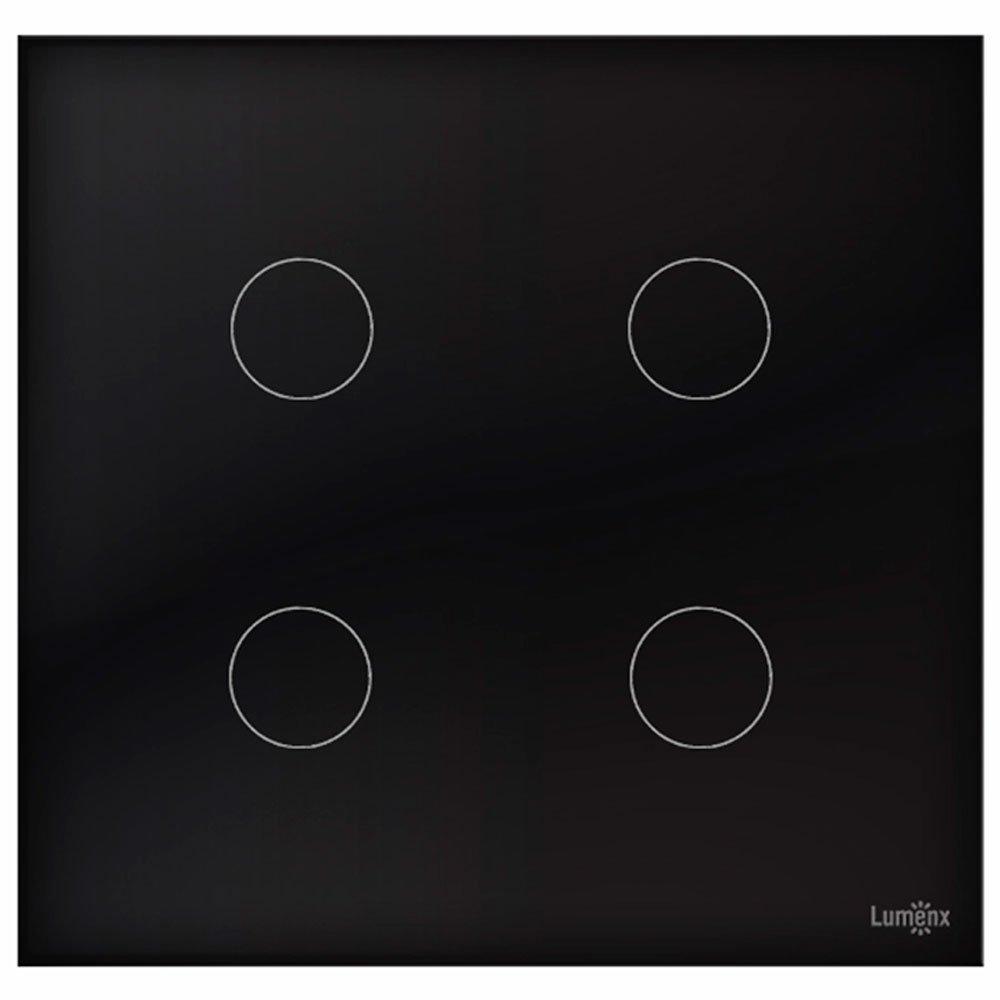 Interruptor Touch Glass em Acrílico Preto com 4 Botões - Imagem zoom