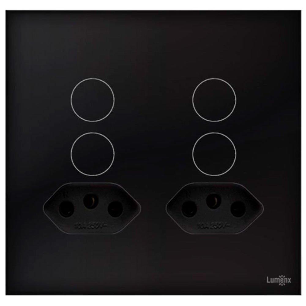 Interruptor Touch Glass em Acrílico Preto com 4 Botões e 2 Tomadas - Imagem zoom