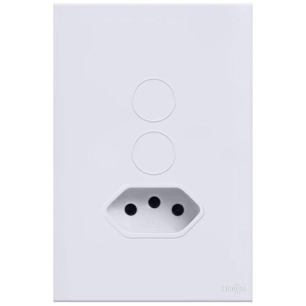 Interruptor Touch Glass em Acrílico Branco com 2 Botões e 1 Tomada - Imagem zoom