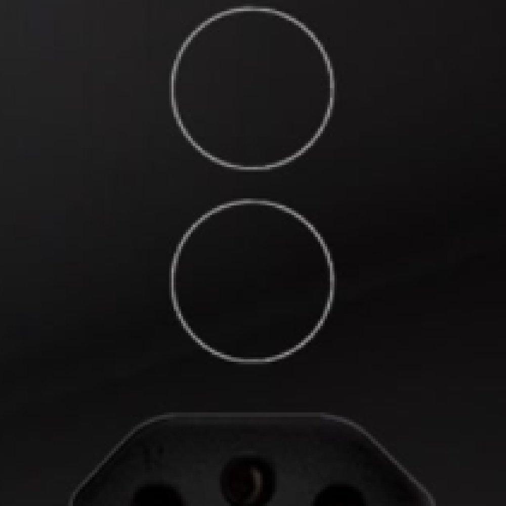 Interruptor Touch Glass em Acrílico Preto com 2 Botões e 1 Tomada - Imagem zoom
