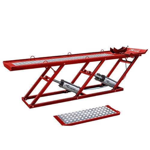 elevador/rampa pneumática premium extra longa vermelho para motos 450kg