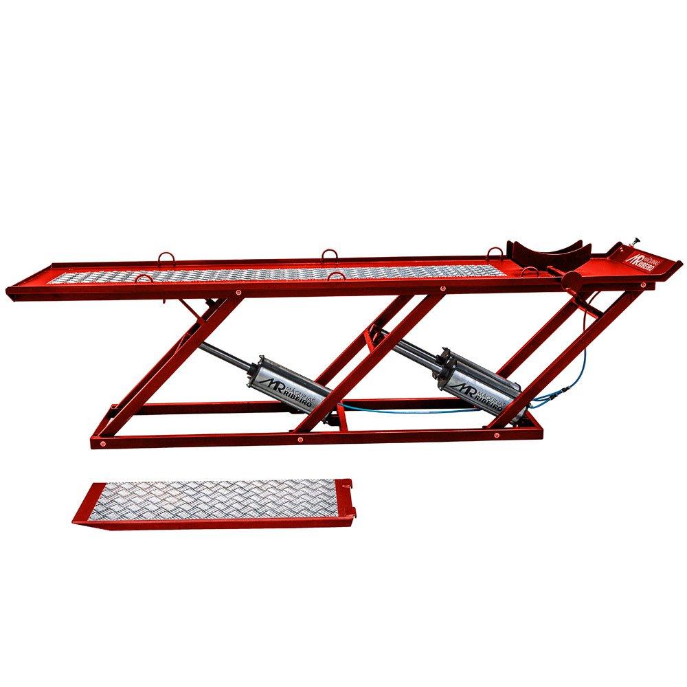 Elevador/Rampa Pneumática Premium Extra Longa Vermelho para Motos 450Kg - Imagem zoom