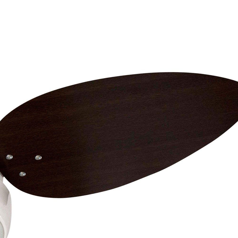 Ventilador de Teto Miray Branco  3 Pás MDF Tabaco com Lustre Arredondado - Imagem zoom