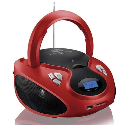 caixa de som boombox 20w rms vermelho/preto