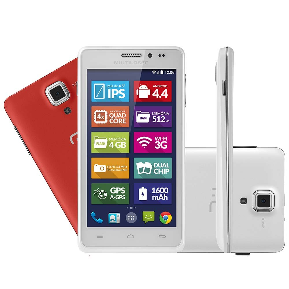 Mini Tablet Multilaser Branco Ms5 Quadcore Dual Chip 8mp Android 4.4 - Imagem zoom