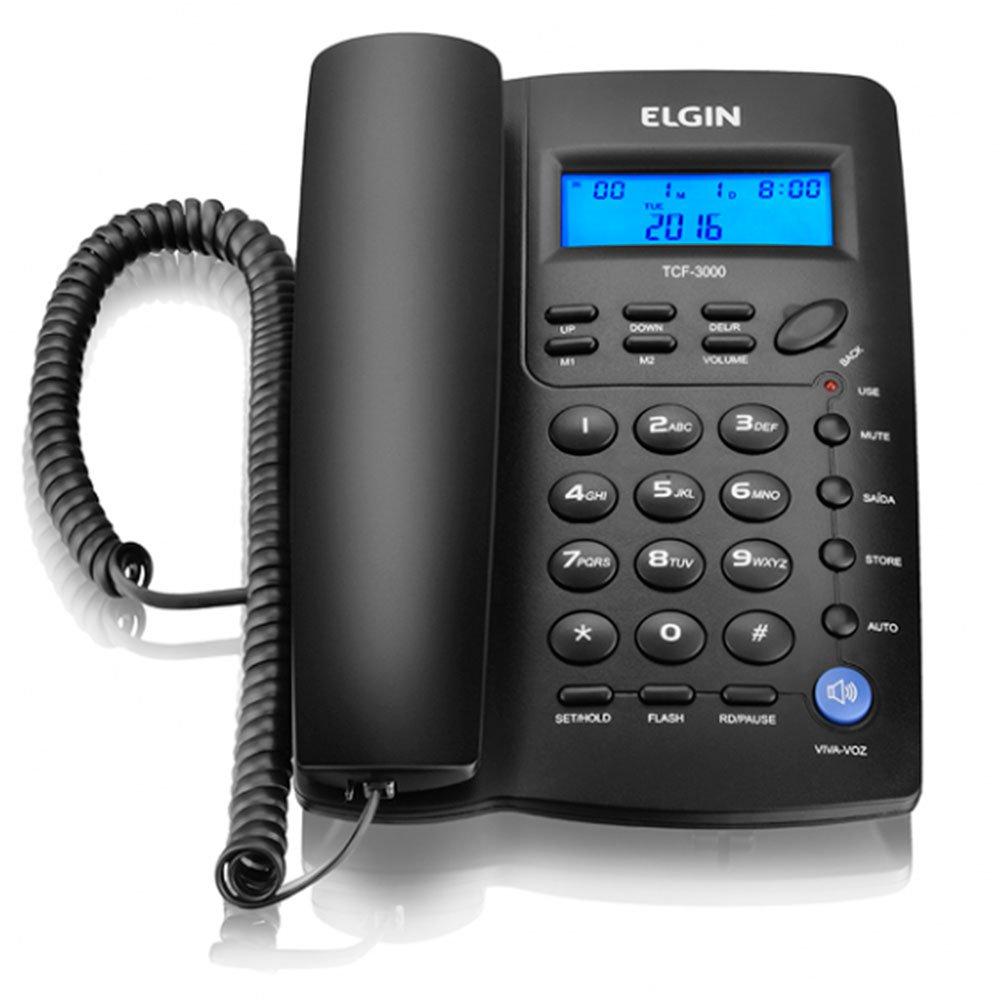 Telefone com Fio Preto com Identificador de Chamadas e Viva-Voz - Imagem zoom