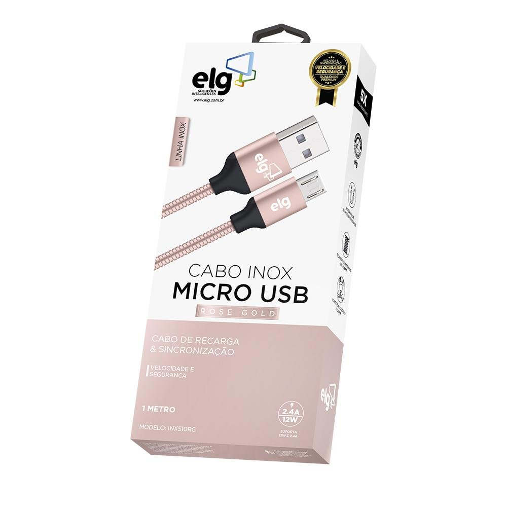 Cabo Micro Usb Blindado Inox - Conector Em Alum - Imagem zoom