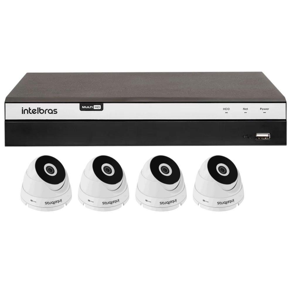 Kit Gravador Digital de Vídeo Multi HD Intelbras 4580330 + 4 Câmeras de Segurança Dome Multi HD 20 Metros Intelbras 4565294 - Imagem zoom