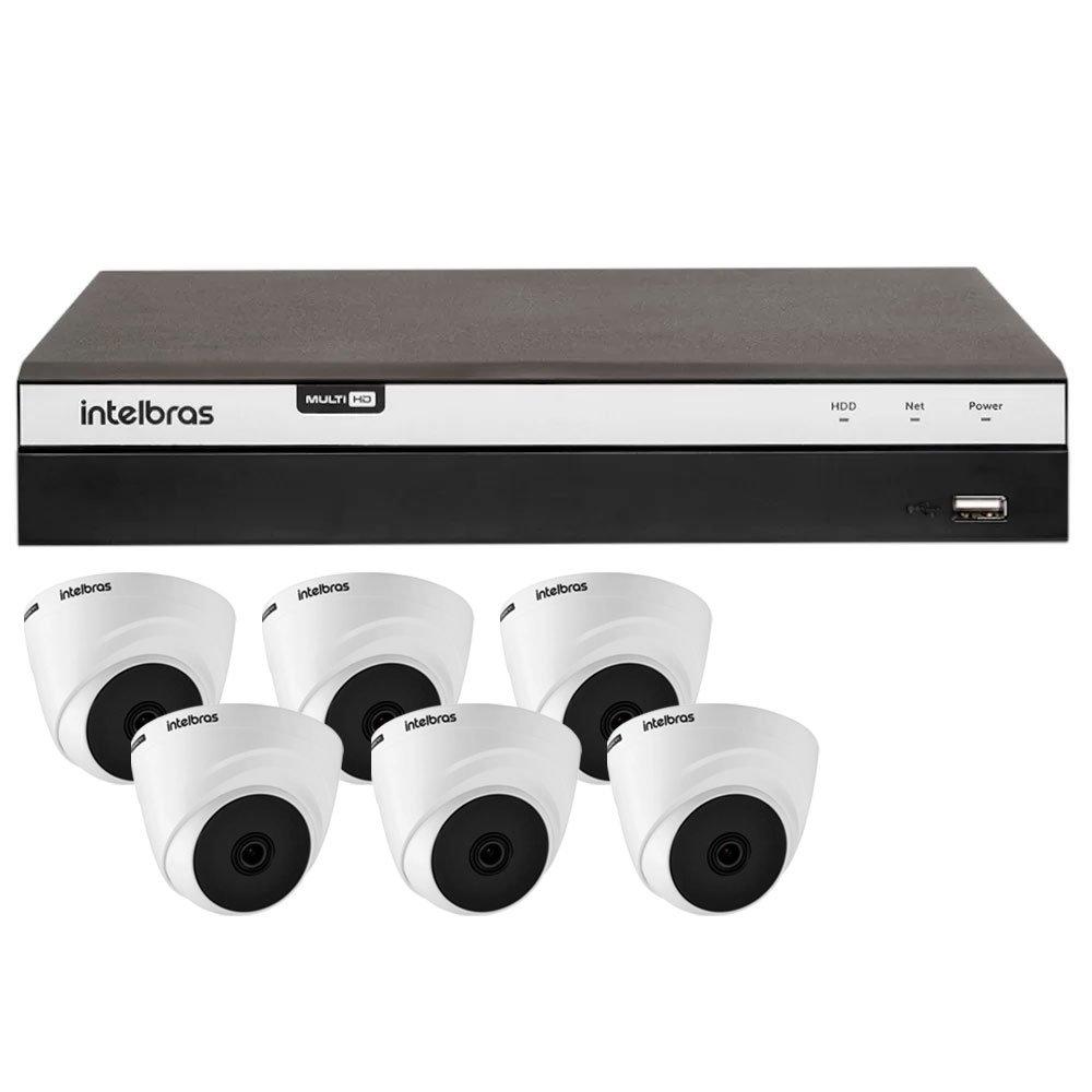 Kit Gravador Digital de Vídeo Multi HD Intelbras 4580331 + 6 Câmeras de Segurança Dome Multi HD 10 Metros Intelbras 4565291 - Imagem zoom