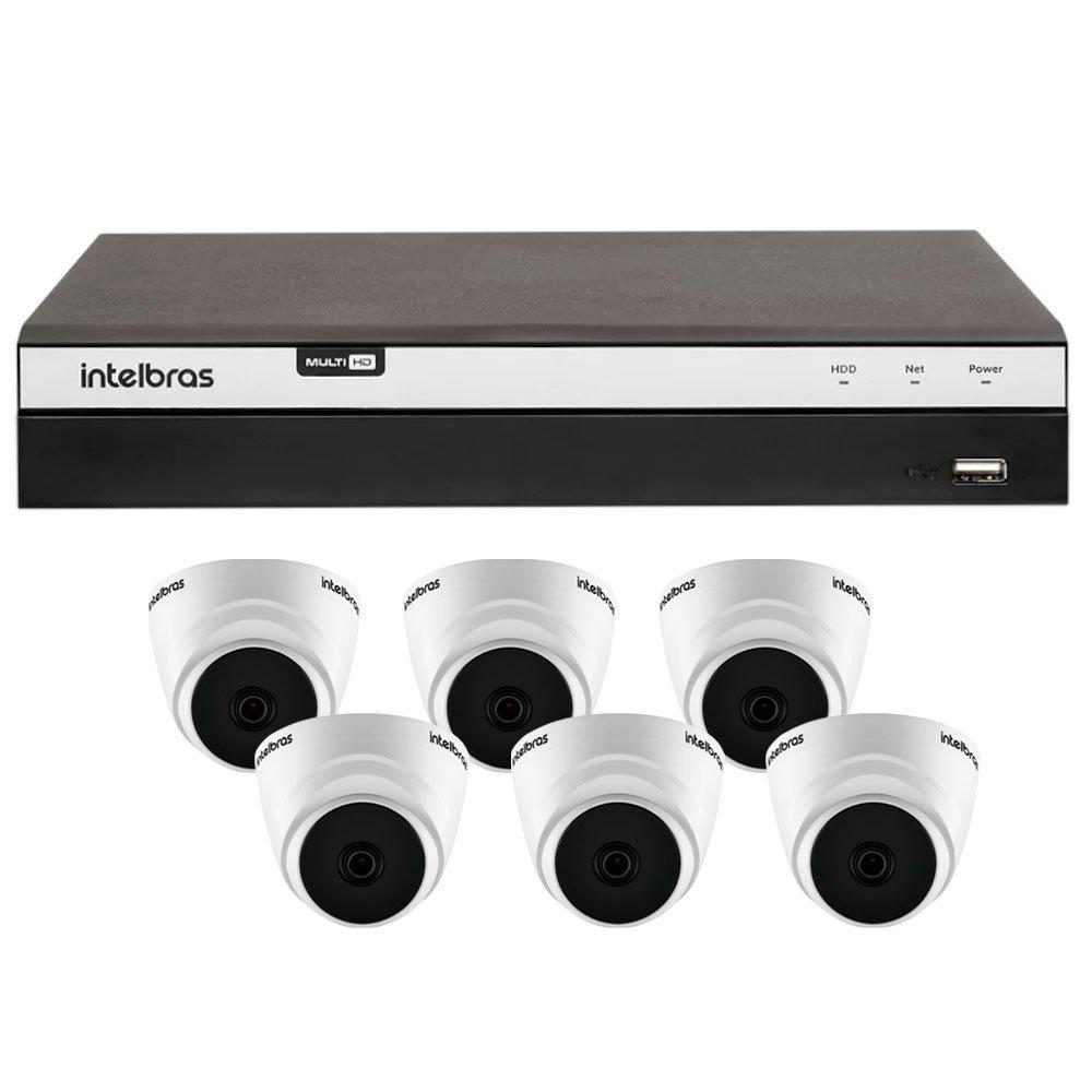 Kit Gravador Digital de Vídeo Multi HD Intelbras 4580331 + 6 Câmeras de Segurança Dome Full HD 20 Metros Intelbras 4565306 - Imagem zoom