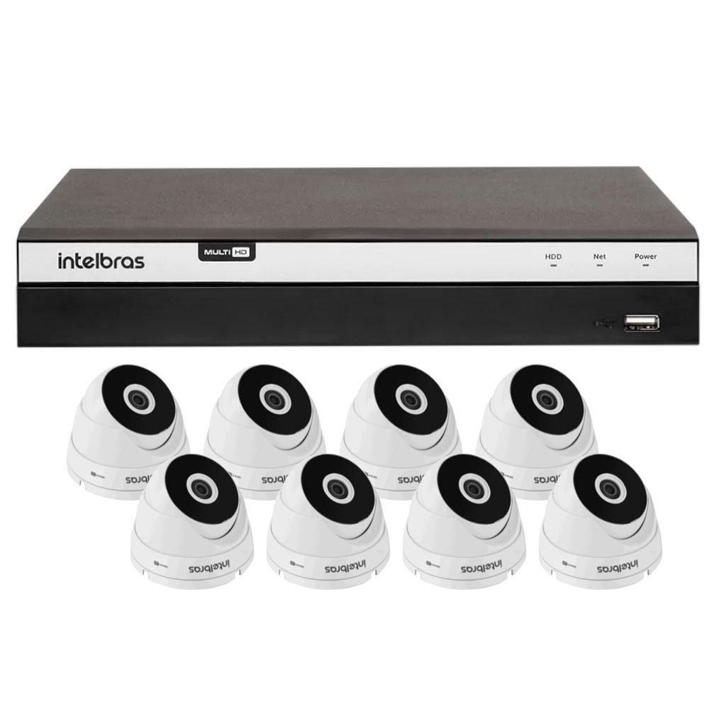 Kit Gravador Digital de Vídeo Multi HD Intelbras 4580331 + 8 Câmeras de Segurança Dome 20 Metros Intelbras 4565294 - Imagem zoom