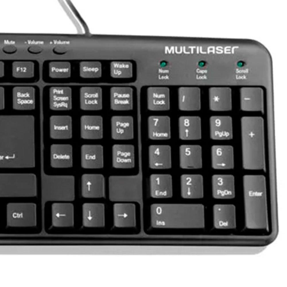 Teclado Multimídia Slim USB Preto - Imagem zoom