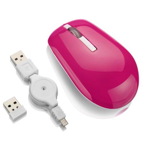 mouse sem fio com bateria de lítio 1600 dpi 2.4 ghz rosa
