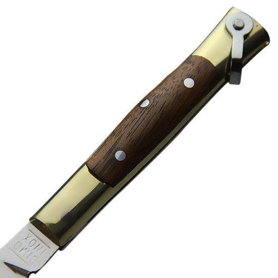 Canivete de Aço Inox com Cabo em Latão e Madeira - Imagem zoom