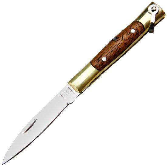 Canivete de Aço Inox com Cabo de Latão e Madeira com Bainha - Imagem zoom
