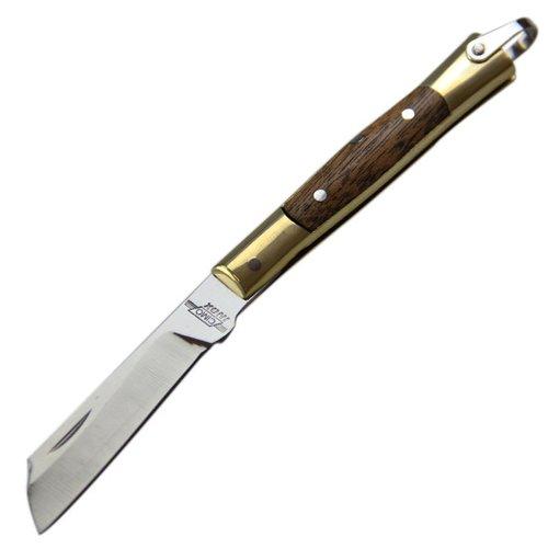 canivete de aço inox com cabo de latão e madeira com bainha