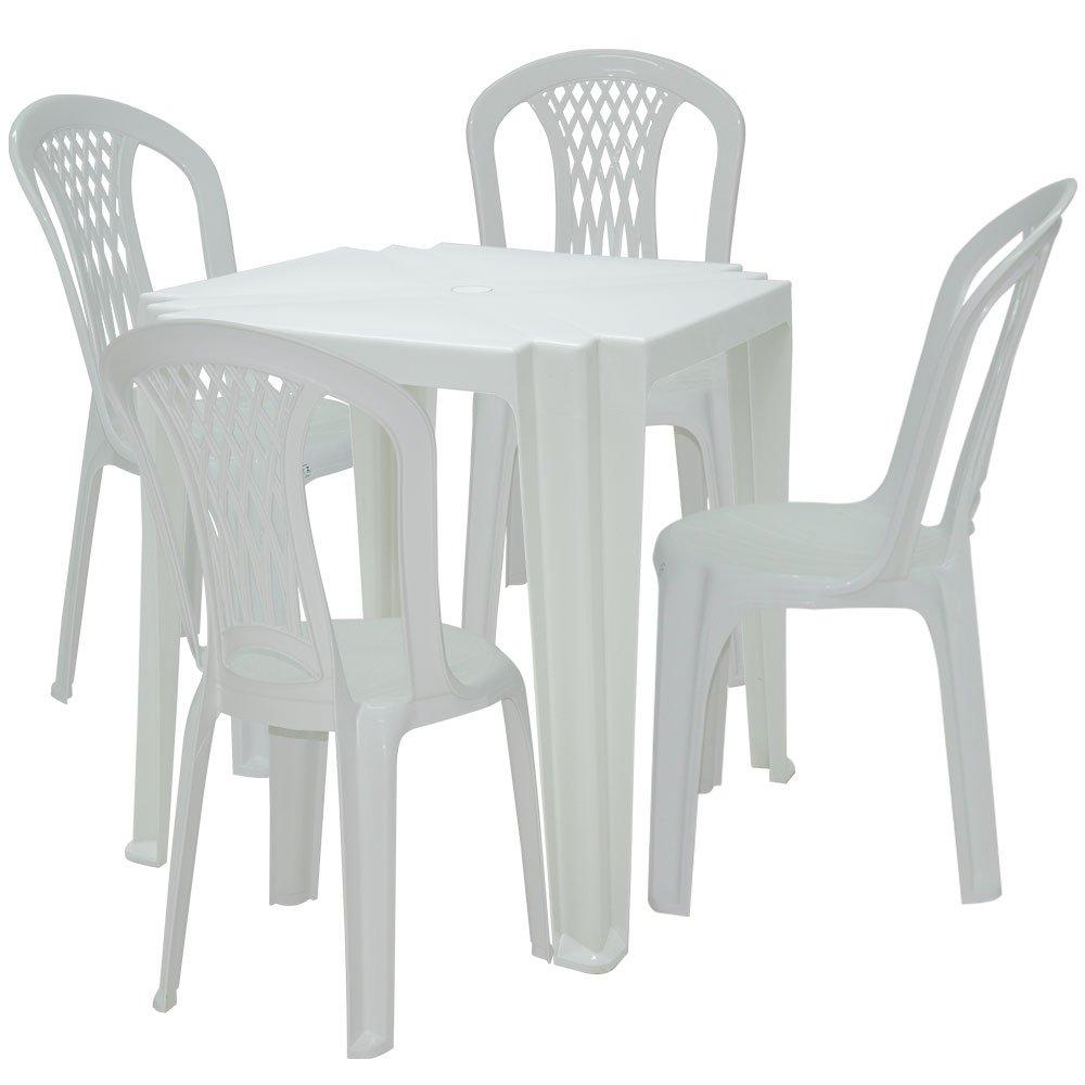 Mesa Quadrada Tambaú Branca TRAMONTINA-92314010 + 4 Cadeiras Laguna Branca - Imagem zoom